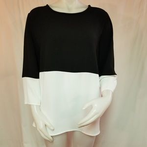 Alfani Black White Tunic Top Size 14